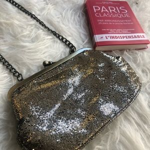 Sparkly blingy Express silver evening bag / purse